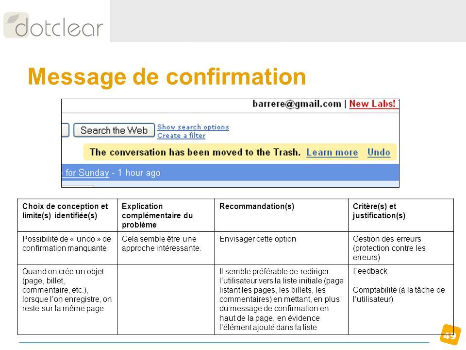 49 Message de confirmation Choix de conception et limite(s) identifiée(s) Explication complémentaire du problème Recommandation(s)Critère(s) et justif