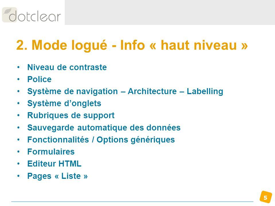 5 2. Mode logué - Info « haut niveau » Niveau de contraste Police Système de navigation – Architecture – Labelling Système donglets Rubriques de suppo