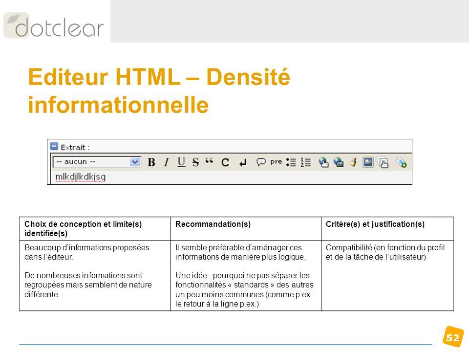 52 Editeur HTML – Densité informationnelle Choix de conception et limite(s) identifiée(s) Recommandation(s)Critère(s) et justification(s) Beaucoup din