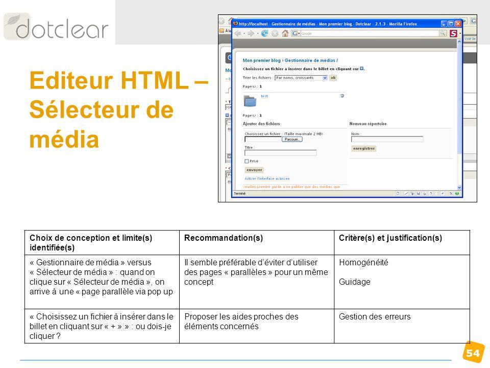 54 Editeur HTML – Sélecteur de média Choix de conception et limite(s) identifiée(s) Recommandation(s)Critère(s) et justification(s) « Gestionnaire de