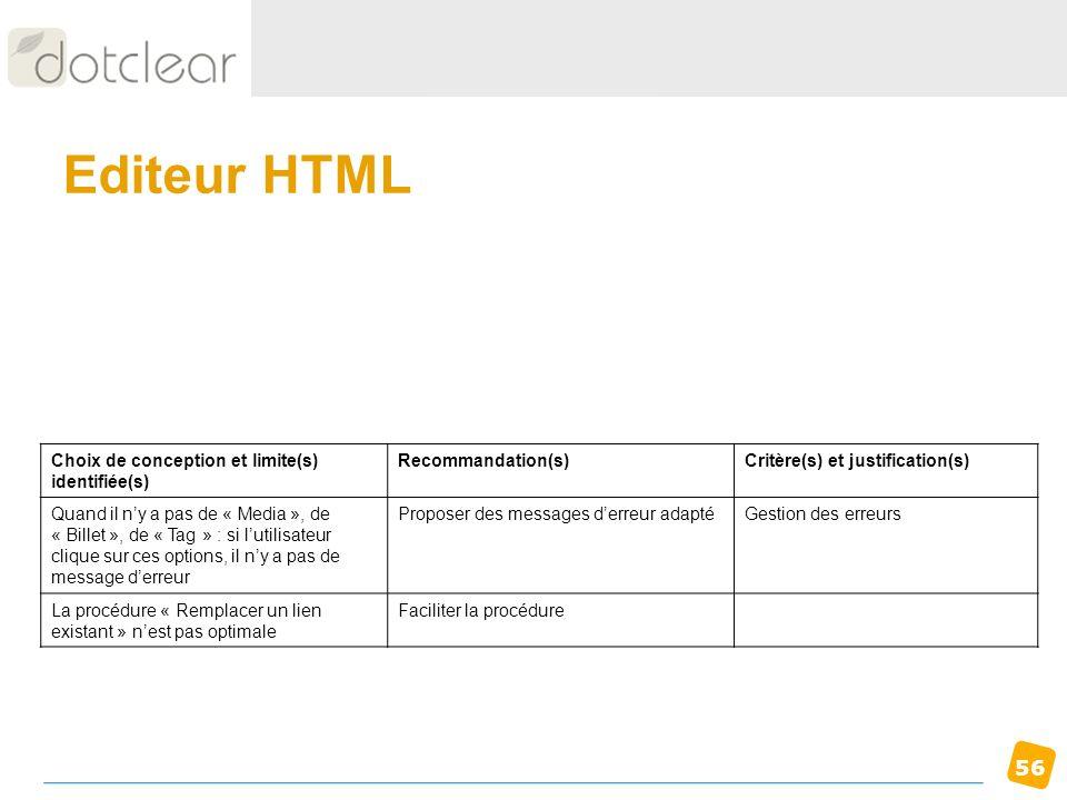 56 Editeur HTML Choix de conception et limite(s) identifiée(s) Recommandation(s)Critère(s) et justification(s) Quand il ny a pas de « Media », de « Bi