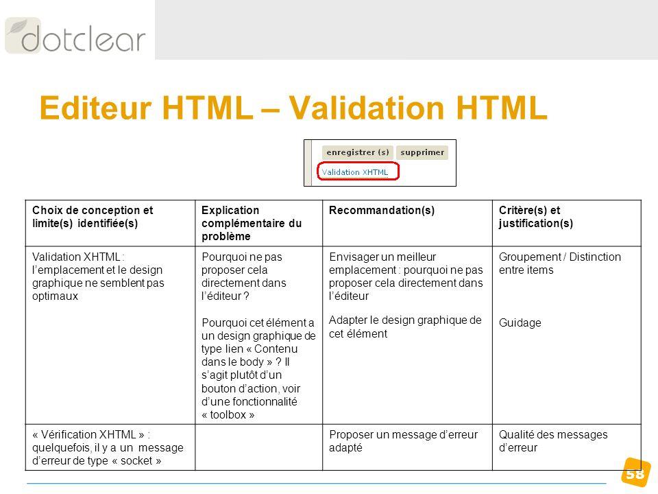 58 Editeur HTML – Validation HTML Choix de conception et limite(s) identifiée(s) Explication complémentaire du problème Recommandation(s)Critère(s) et