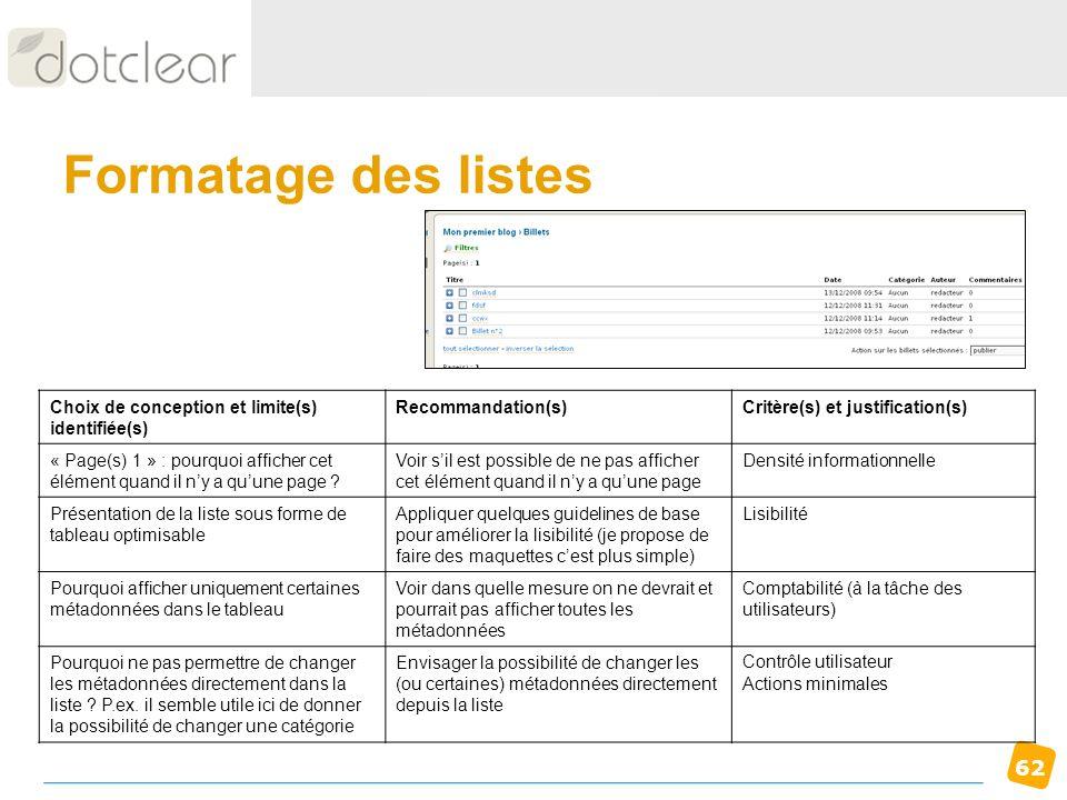 62 Formatage des listes Choix de conception et limite(s) identifiée(s) Recommandation(s)Critère(s) et justification(s) « Page(s) 1 » : pourquoi affich