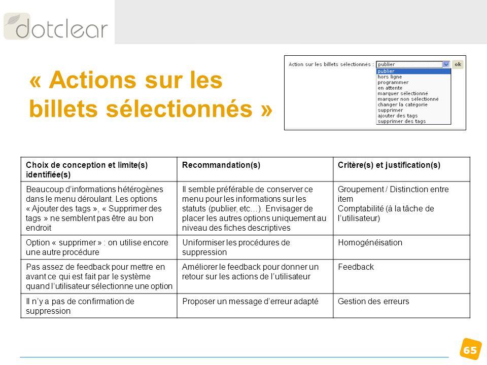 65 « Actions sur les billets sélectionnés » Choix de conception et limite(s) identifiée(s) Recommandation(s)Critère(s) et justification(s) Beaucoup di