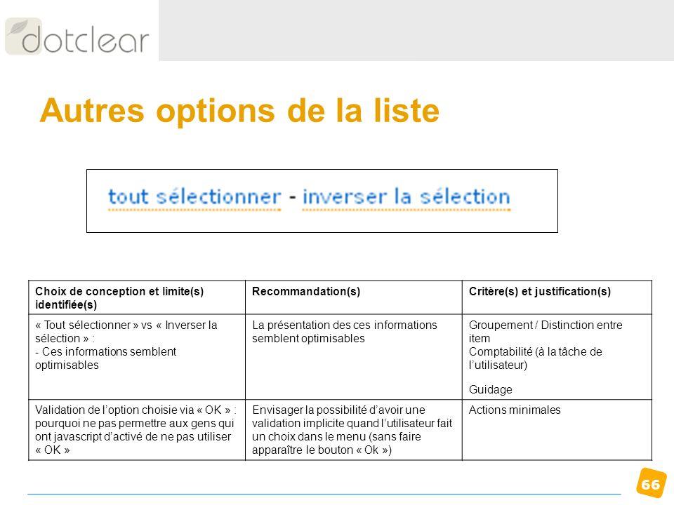 66 Autres options de la liste Choix de conception et limite(s) identifiée(s) Recommandation(s)Critère(s) et justification(s) « Tout sélectionner » vs
