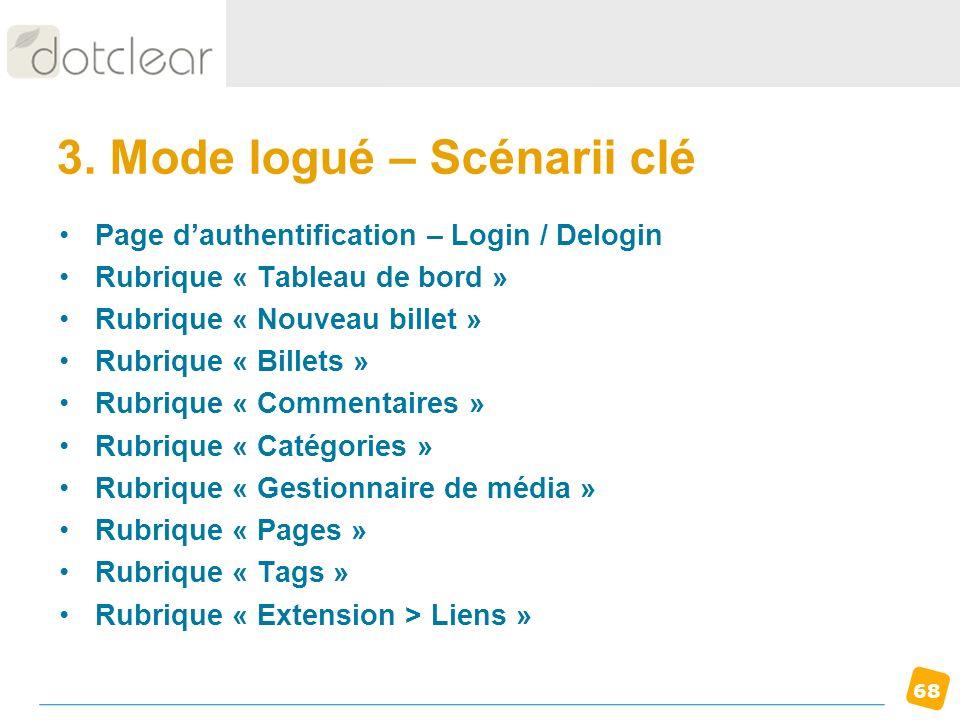68 3. Mode logué – Scénarii clé Page dauthentification – Login / Delogin Rubrique « Tableau de bord » Rubrique « Nouveau billet » Rubrique « Billets »