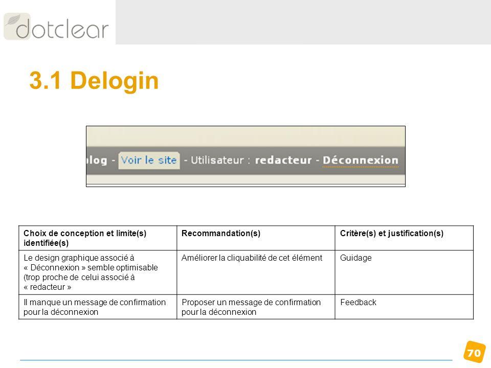 70 3.1 Delogin Choix de conception et limite(s) identifiée(s) Recommandation(s)Critère(s) et justification(s) Le design graphique associé à « Déconnex