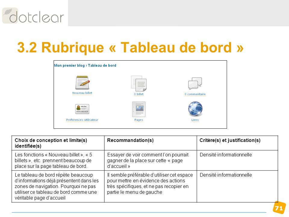 71 3.2 Rubrique « Tableau de bord » Choix de conception et limite(s) identifiée(s) Recommandation(s)Critère(s) et justification(s) Les fonctions « Nou