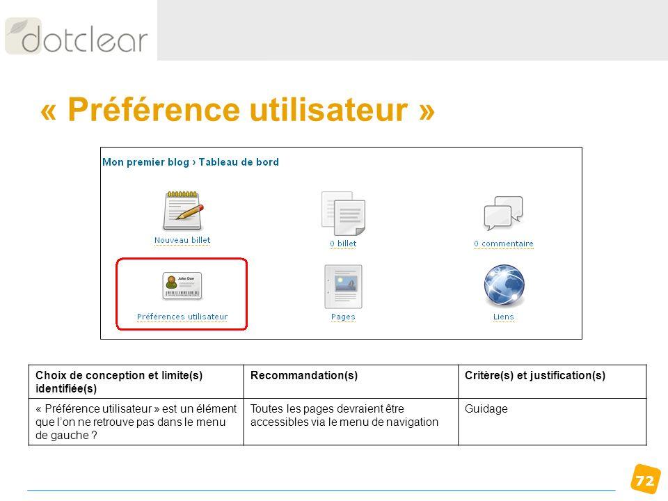 72 « Préférence utilisateur » Choix de conception et limite(s) identifiée(s) Recommandation(s)Critère(s) et justification(s) « Préférence utilisateur