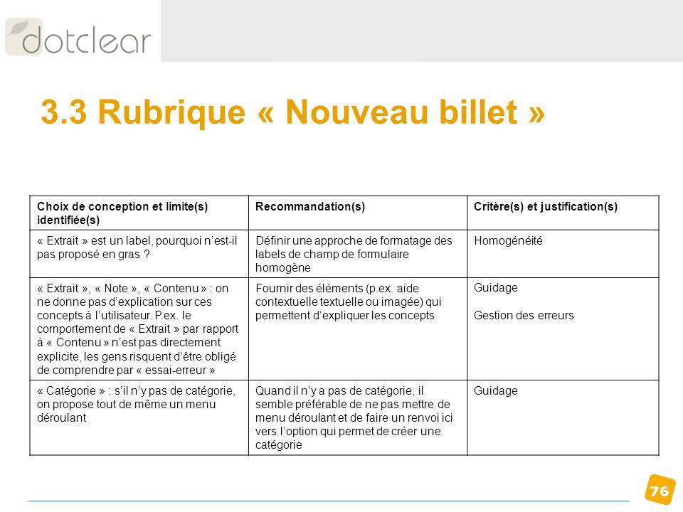 76 3.3 Rubrique « Nouveau billet » Choix de conception et limite(s) identifiée(s) Recommandation(s)Critère(s) et justification(s) « Extrait » est un l