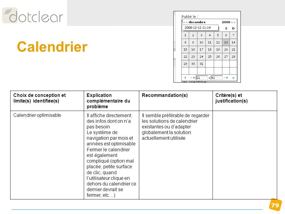 79 Calendrier Choix de conception et limite(s) identifiée(s) Explication complémentaire du problème Recommandation(s)Critère(s) et justification(s) Ca