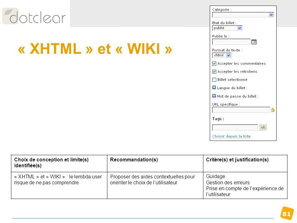 81 « XHTML » et « WIKI » Choix de conception et limite(s) identifiée(s) Recommandation(s)Critère(s) et justification(s) « XHTML » et « WIKI » : le lem