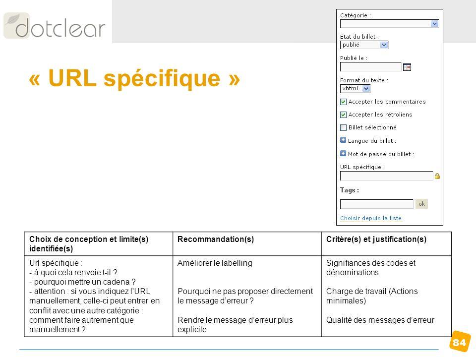 84 « URL spécifique » Choix de conception et limite(s) identifiée(s) Recommandation(s)Critère(s) et justification(s) Url spécifique : - à quoi cela re