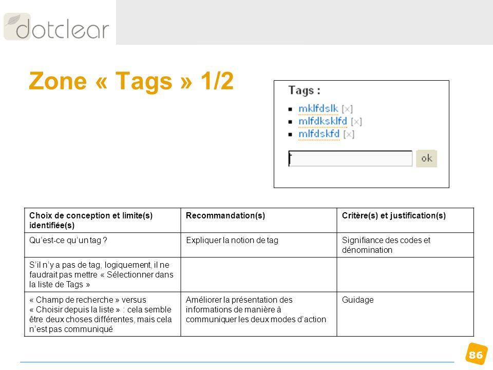 86 Zone « Tags » 1/2 Choix de conception et limite(s) identifiée(s) Recommandation(s)Critère(s) et justification(s) Quest-ce quun tag ?Expliquer la no