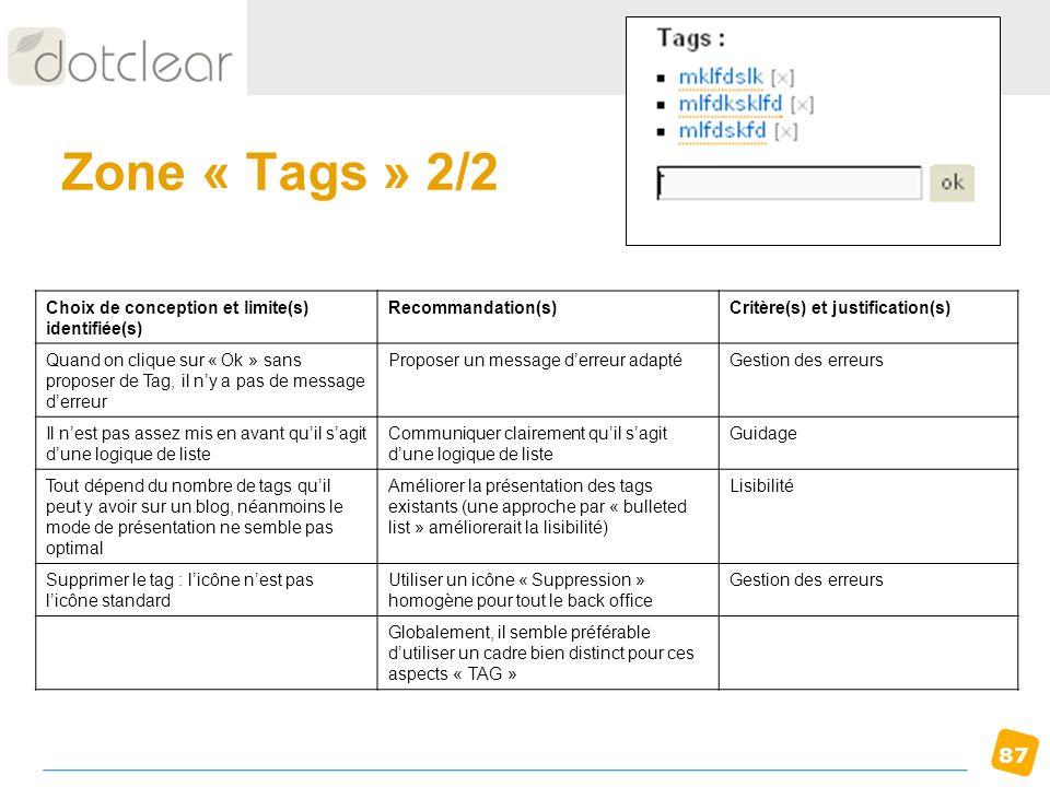 87 Zone « Tags » 2/2 Choix de conception et limite(s) identifiée(s) Recommandation(s)Critère(s) et justification(s) Quand on clique sur « Ok » sans pr