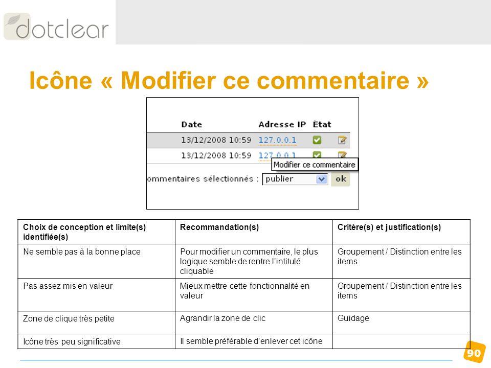90 Icône « Modifier ce commentaire » Choix de conception et limite(s) identifiée(s) Recommandation(s)Critère(s) et justification(s) Ne semble pas à la