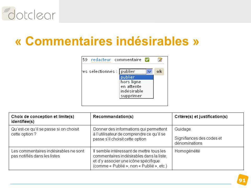 91 « Commentaires indésirables » Choix de conception et limite(s) identifiée(s) Recommandation(s)Critère(s) et justification(s) Quest-ce quil se passe