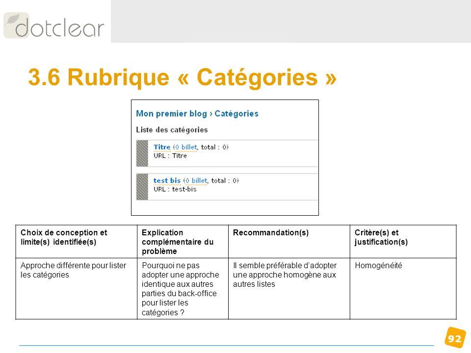 92 3.6 Rubrique « Catégories » Choix de conception et limite(s) identifiée(s) Explication complémentaire du problème Recommandation(s)Critère(s) et ju