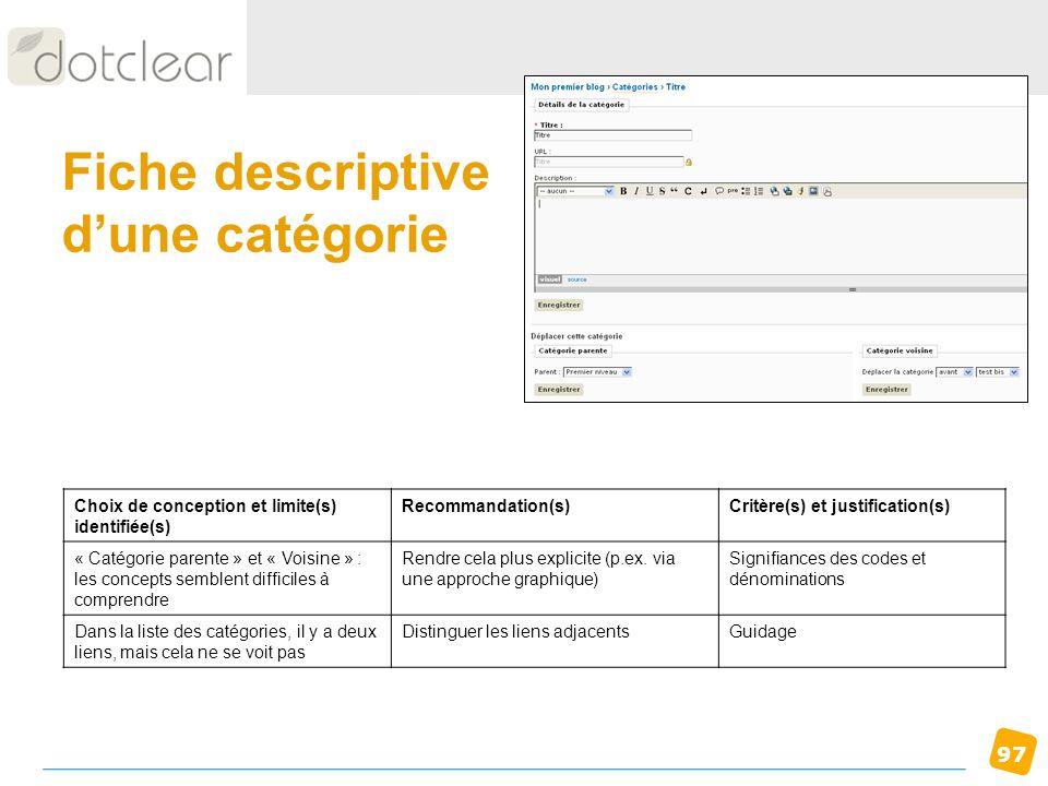 97 Fiche descriptive dune catégorie Choix de conception et limite(s) identifiée(s) Recommandation(s)Critère(s) et justification(s) « Catégorie parente