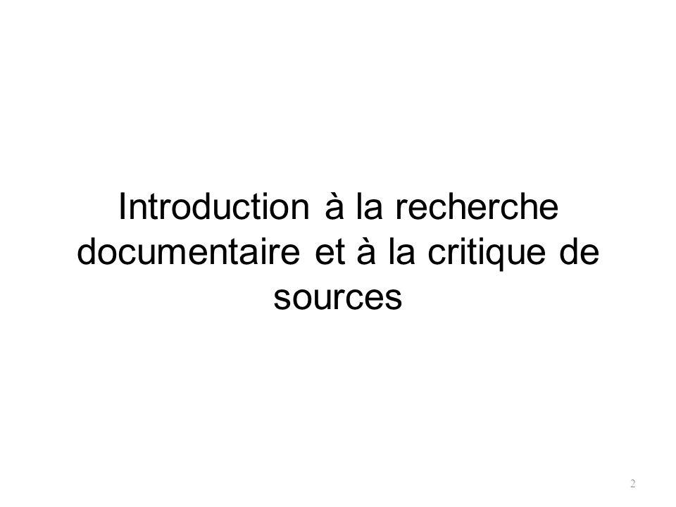 2 Introduction à la recherche documentaire et à la critique de sources