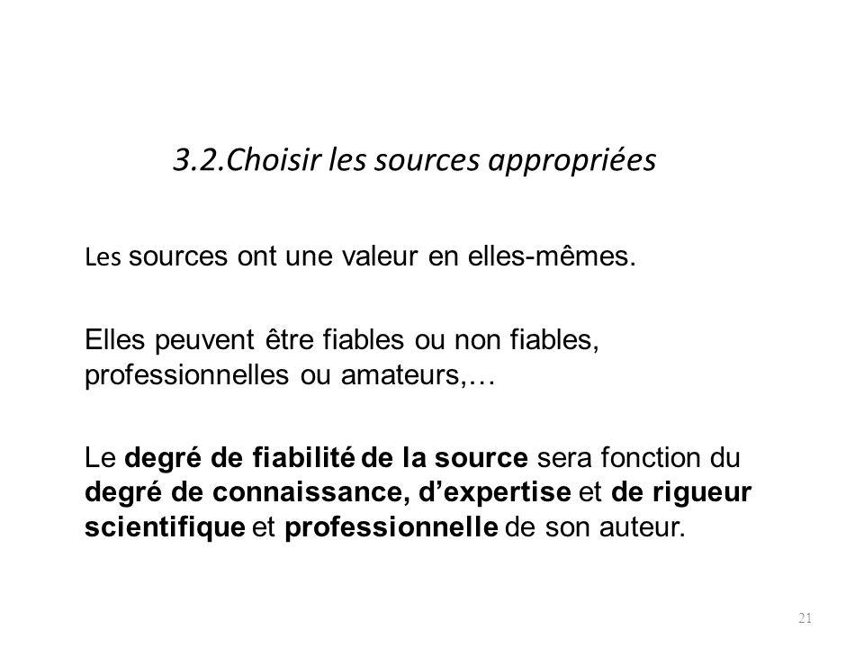 3.2.Choisir les sources appropriées Les sources ont une valeur en elles-mêmes.