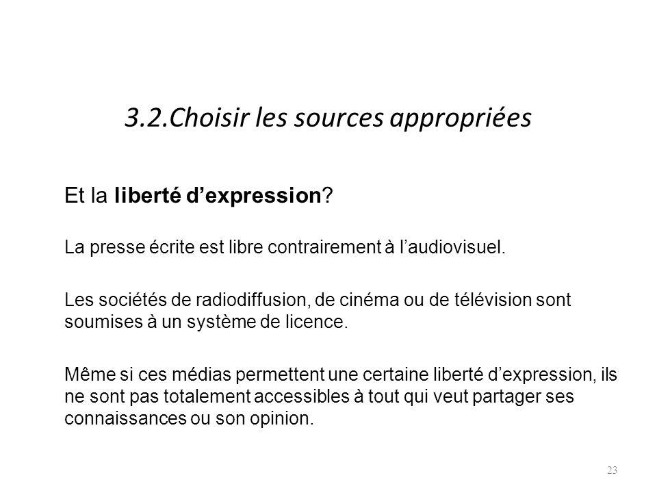 3.2.Choisir les sources appropriées Et la liberté dexpression.