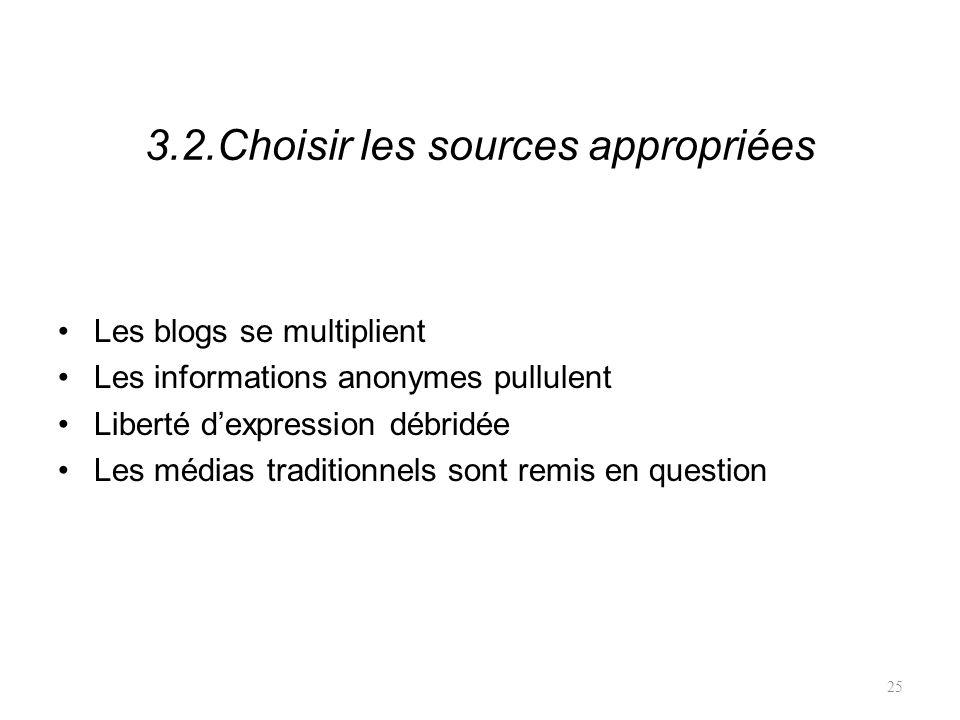 3.2.Choisir les sources appropriées Les blogs se multiplient Les informations anonymes pullulent Liberté dexpression débridée Les médias traditionnels sont remis en question 25