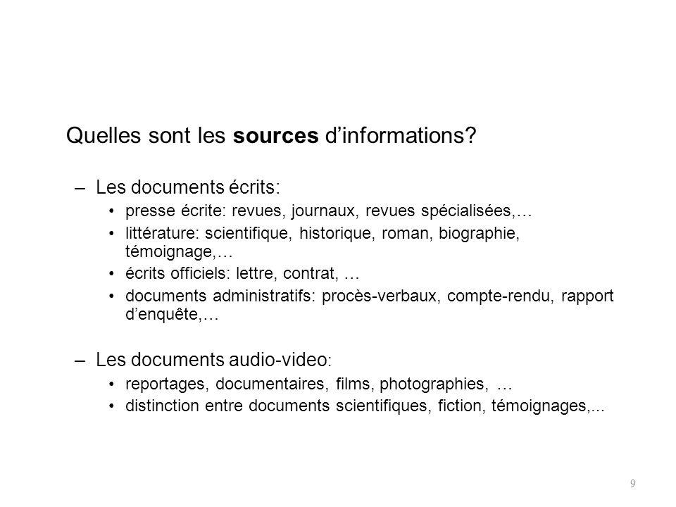 Quelles sont les sources dinformations.