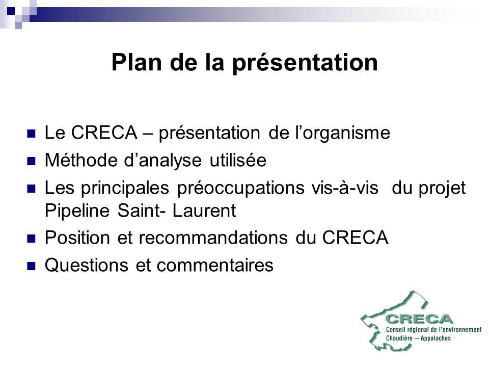 Plan de la présentation Le CRECA – présentation de lorganisme Méthode danalyse utilisée Les principales préoccupations vis-à-vis du projet Pipeline Saint- Laurent Position et recommandations du CRECA Questions et commentaires