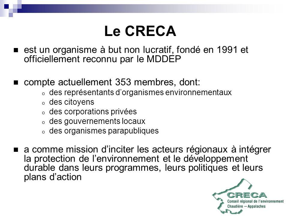 Le CRECA est un organisme à but non lucratif, fondé en 1991 et officiellement reconnu par le MDDEP compte actuellement 353 membres, dont: o des représ