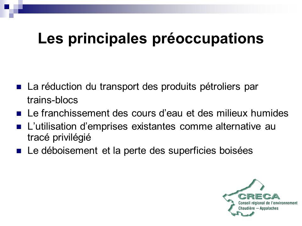 Les principales préoccupations La réduction du transport des produits pétroliers par trains-blocs Le franchissement des cours deau et des milieux humi