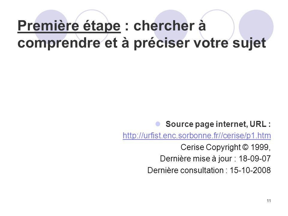 11 Première étape : chercher à comprendre et à préciser votre sujet Source page internet, URL : http://urfist.enc.sorbonne.fr//cerise/p1.htm Cerise Co