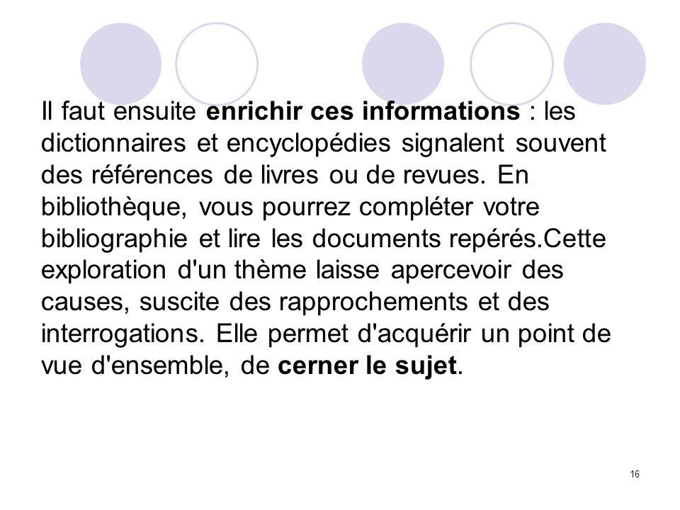 16 Il faut ensuite enrichir ces informations : les dictionnaires et encyclopédies signalent souvent des références de livres ou de revues. En biblioth