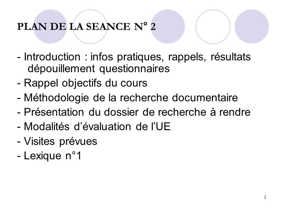 2 PLAN DE LA SEANCE N° 2 - Introduction : infos pratiques, rappels, résultats dépouillement questionnaires - Rappel objectifs du cours - Méthodologie