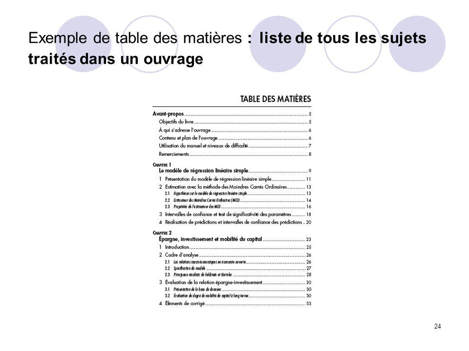 24 Exemple de table des matières : liste de tous les sujets traités dans un ouvrage