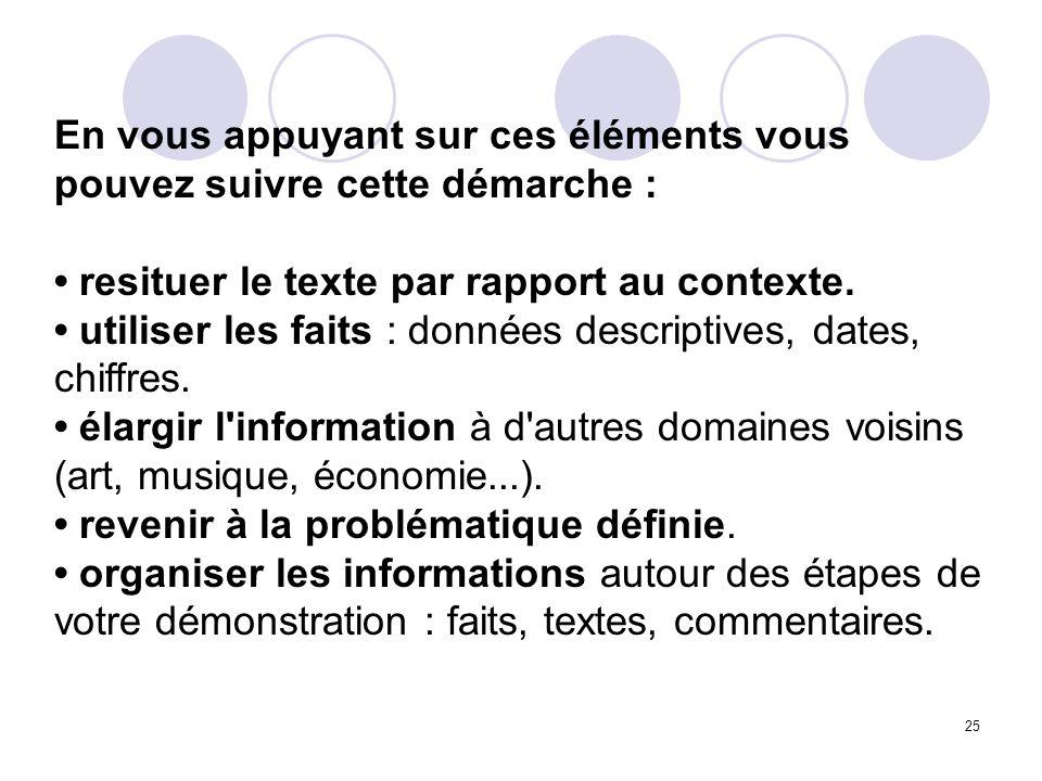 25 En vous appuyant sur ces éléments vous pouvez suivre cette démarche : resituer le texte par rapport au contexte. utiliser les faits : données descr