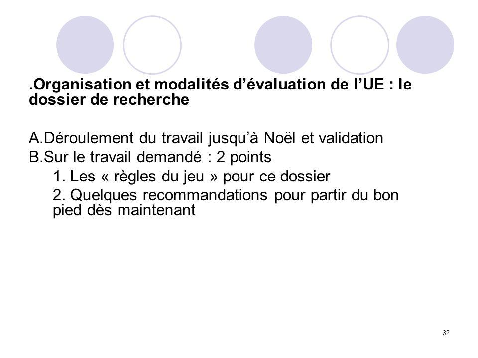 32.Organisation et modalités dévaluation de lUE : le dossier de recherche A.Déroulement du travail jusquà Noël et validation B.Sur le travail demandé