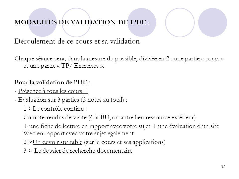 37 MODALITES DE VALIDATION DE LUE : Déroulement de ce cours et sa validation Chaque séance sera, dans la mesure du possible, divisée en 2 : une partie