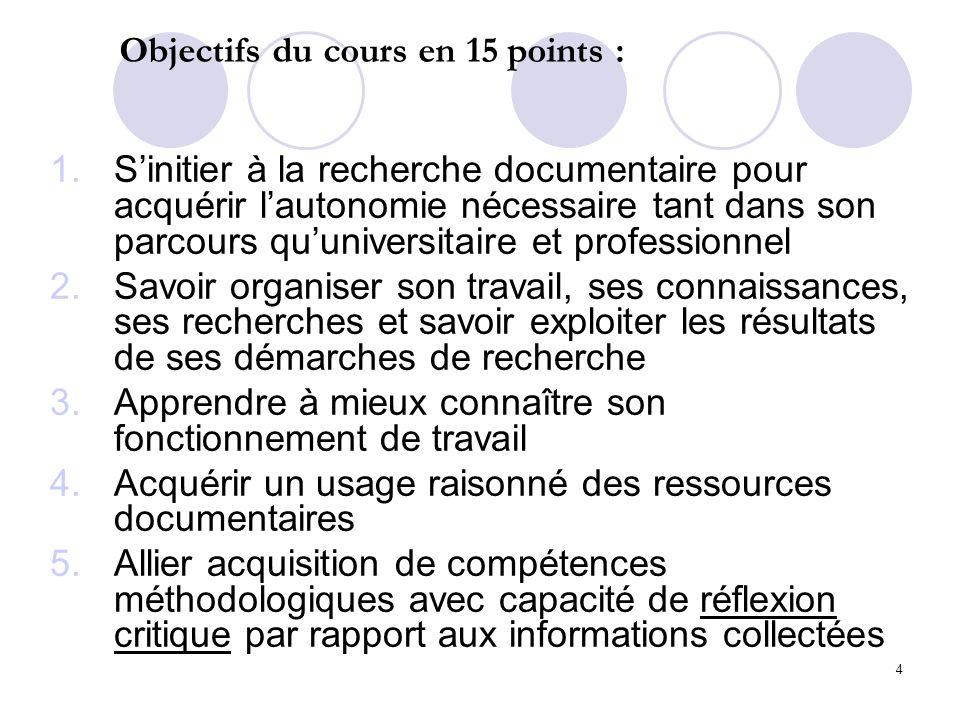 4 Objectifs du cours en 15 points : 1.Sinitier à la recherche documentaire pour acquérir lautonomie nécessaire tant dans son parcours quuniversitaire