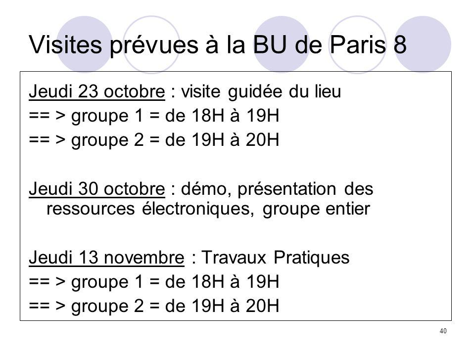 40 Visites prévues à la BU de Paris 8 Jeudi 23 octobre : visite guidée du lieu == > groupe 1 = de 18H à 19H == > groupe 2 = de 19H à 20H Jeudi 30 octo