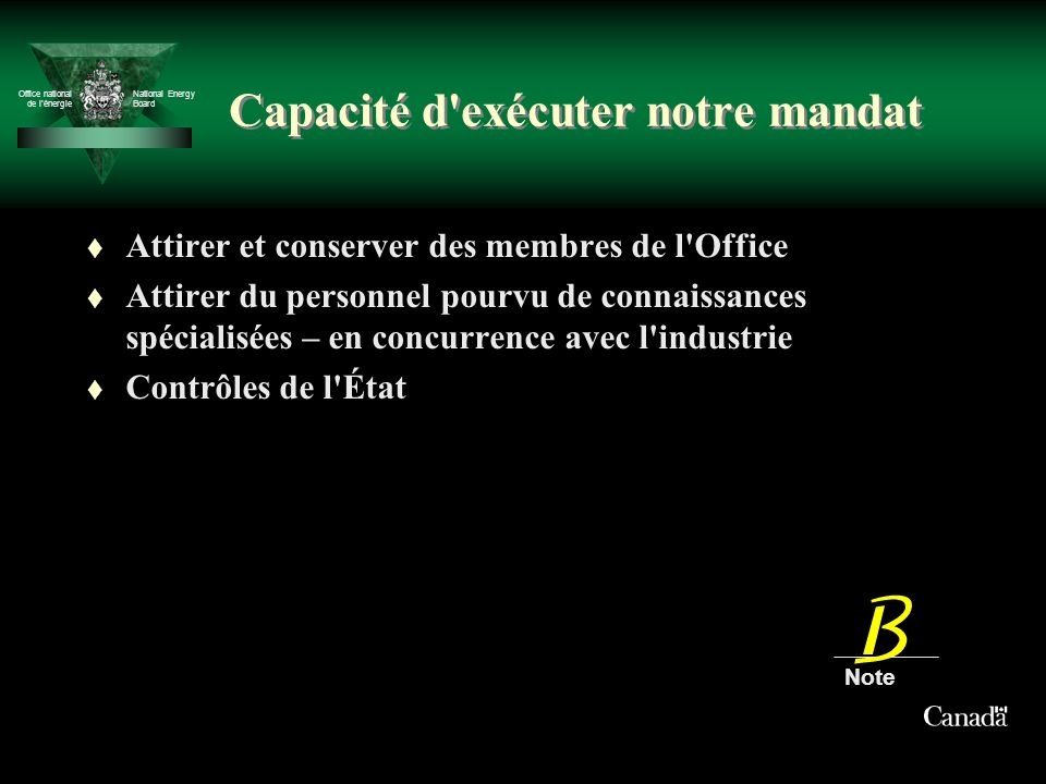 Office national de lénergie National Energy Board Capacité d'exécuter notre mandat t Attirer et conserver des membres de l'Office t Attirer du personn