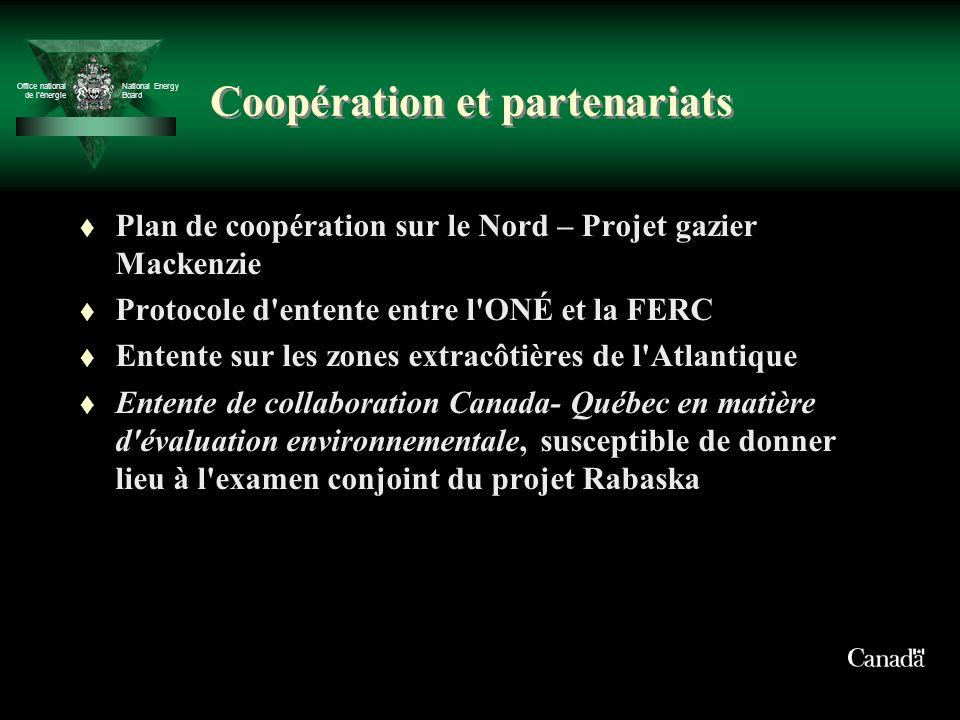 Office national de lénergie National Energy Board Coopération et partenariats t Plan de coopération sur le Nord – Projet gazier Mackenzie t Protocole