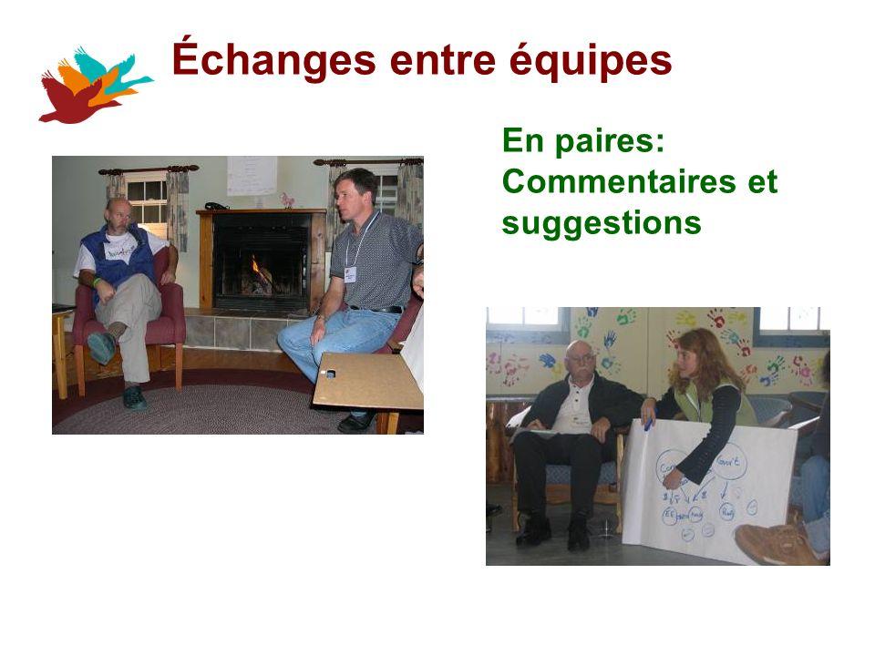 Échanges entre équipes En paires: Commentaires et suggestions