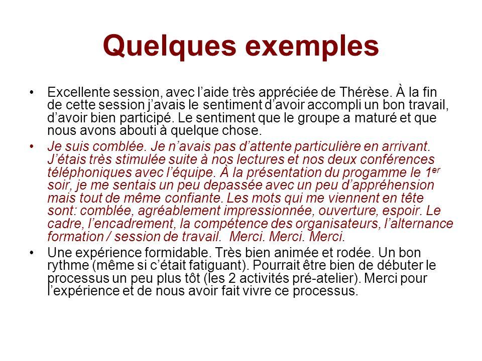Quelques exemples Excellente session, avec laide très appréciée de Thérèse.