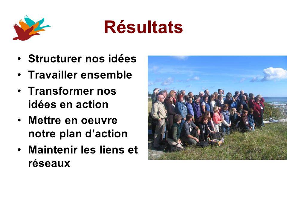 Résultats Structurer nos idées Travailler ensemble Transformer nos idées en action Mettre en oeuvre notre plan daction Maintenir les liens et réseaux