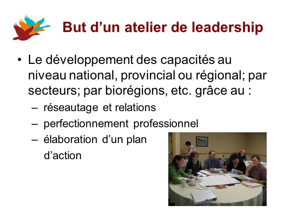 But dun atelier de leadership Le développement des capacités au niveau national, provincial ou régional; par secteurs; par biorégions, etc.