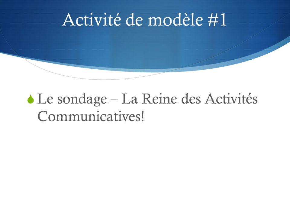 Activité de modèle #1 Le sondage – La Reine des Activités Communicatives!