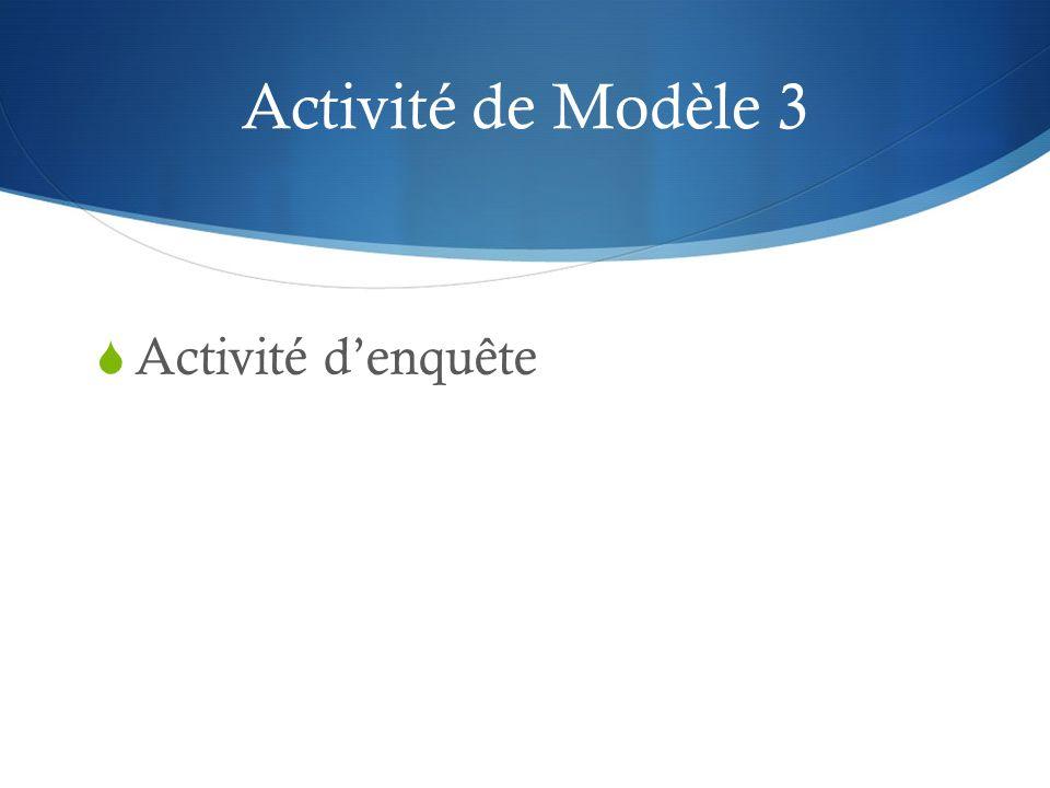 Activité de Modèle 3 Activité denquête