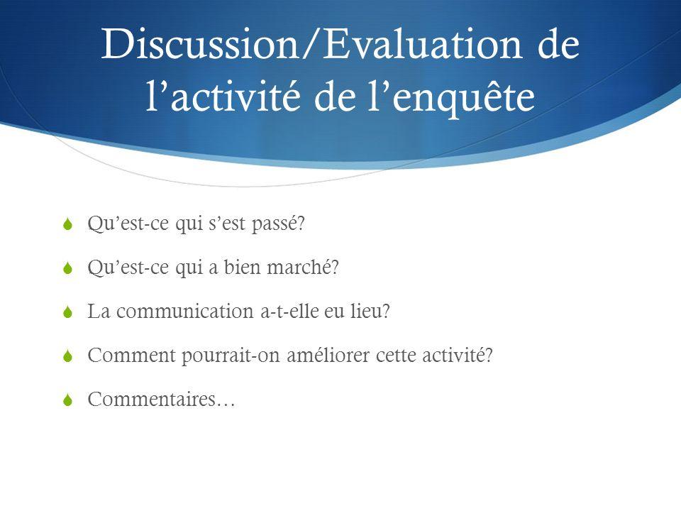 Discussion/Evaluation de lactivité de lenquête Quest-ce qui sest passé? Quest-ce qui a bien marché? La communication a-t-elle eu lieu? Comment pourrai