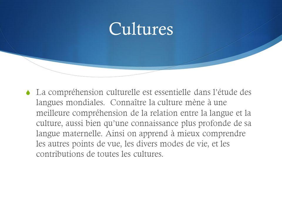 Cultures La compréhension culturelle est essentielle dans létude des langues mondiales. Connaître la culture mène à une meilleure compréhension de la